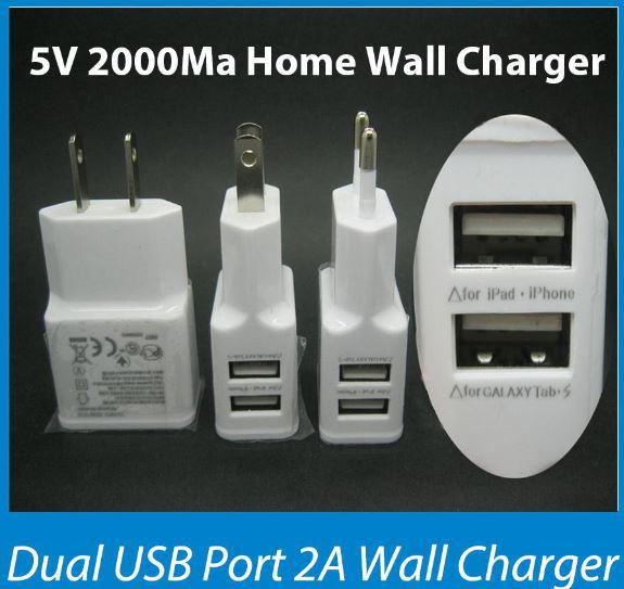 EU/US 5V 2A 2.1A 2 Port Dual USB Travel Wall Charger Adapter for Samsung Galaxy S5 i9600 S4 S3 Note2/3 for iPhone6 5S 4S for iPad Air