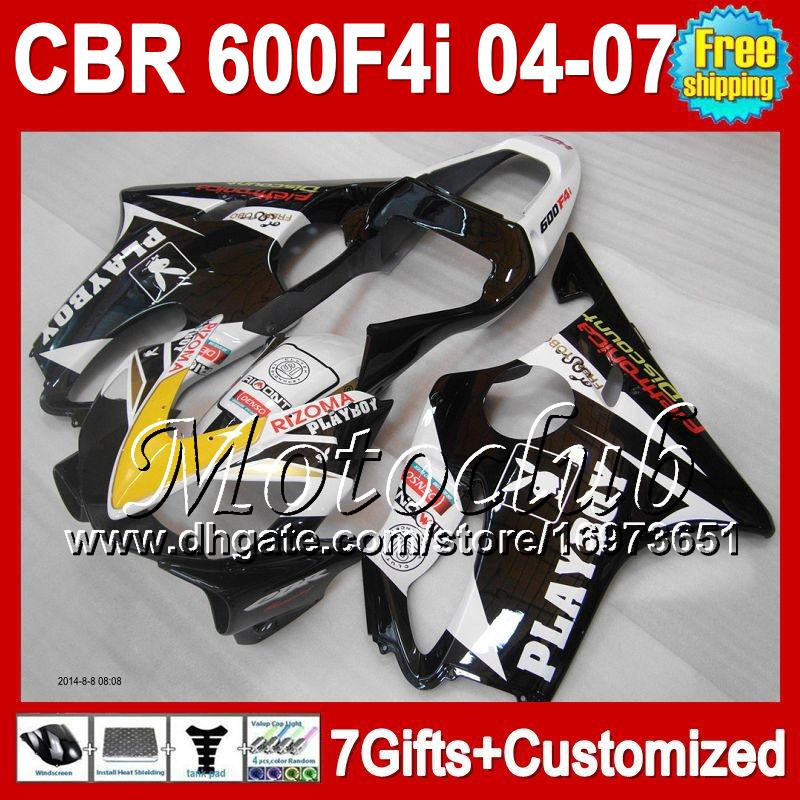 7gifts PLAYBOY For HONDA 05 2005 04 06 07 CBR600F4i 04-07 1MC22 NEW Black white CBR600 F4i FS CBR 600 F4i 600F4i 2004 2006 2007 Fairing
