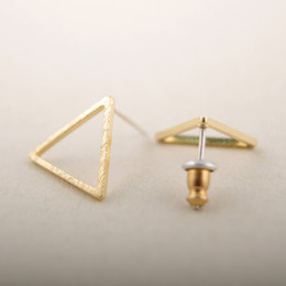 Wholesale Copper Line - 10pcs lot 2015 New Fashion gold silver geometric line triangle earring Jewelry for Women ED008