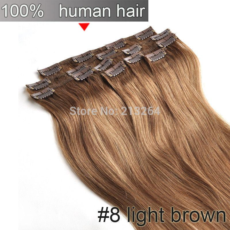 15 18 20 22 clips in soft real human hair extension8light 15 18 20 22 7pcs clips in soft real human hair extension8light brown70g80g pmusecretfo Image collections