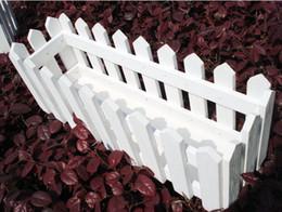 Cerca de la flor artificial online-Madera Artificial Florero Florero de madera macetas de madera Cerca de la maceta Bandeja Balcón Decoración de color blanco SF-083