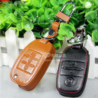 Wholesale Flip Key Kia - Wholesale-Black Genuine Leather Car Remote Flip Key and Smart Key Cover with Keychain For KIA K3 Key Decoration Free Shipping