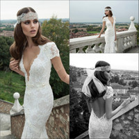 New W1300 Mermaid Lace Wedding Dresses With Short Sleeves V ...