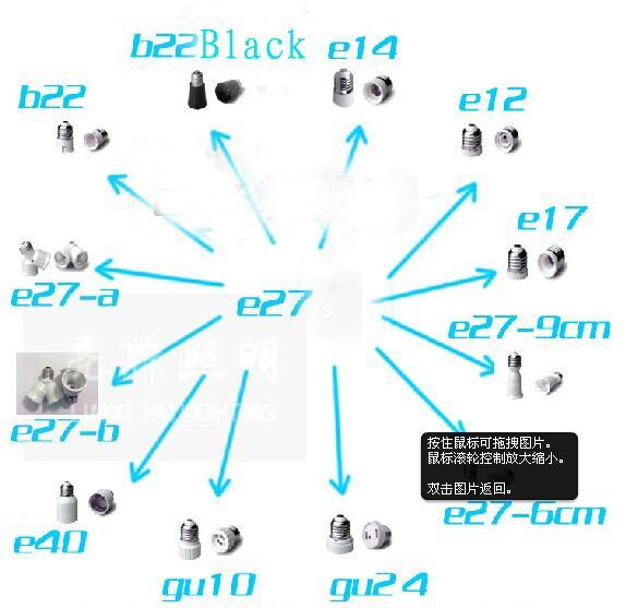Posiadacze lampy Bases do żarówki LED Light E27 do E12 E27 B22 E14 GU10 MR16 Adapter Converter Holder Oświetlenie Akcesoria New Arrival