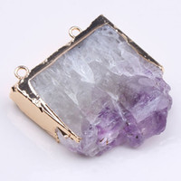 Wholesale Geode Slices - 10PCS Gold plated Natural Amethyst Druzy Double Buckle pendant Geode drusy Jewelry Geode Slice pendant jewelry