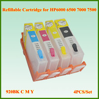Wholesale Empty Refill Ink Cartridge - Free Shipping refill 920BK C M Y Empty Cartridges refillable ink cartridge with Chip for HP Officejet 6000 6500 7000 7500 Printer