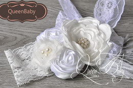 Wholesale Feathered Layered - White Layered Poppy Flower Matching Feather With Wide Lace Headband Baby Headband Ballerina's Accessories 6pcs lot