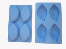 Wholesale Silicone Leaf Mold - 10 pcs lot 100% silicone rubber 4 holes leaf shape blue color silicone soap mould ,cake mold,cake decorating mold+free sh