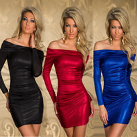 Wholesale Dress Party Promotion - Promotion!! New Fashion Dresses Women Mini Dress Long-sleeved Fall and winter Ladies Sexy Slim Cocktail Dress Fashion Evening Party Skirt