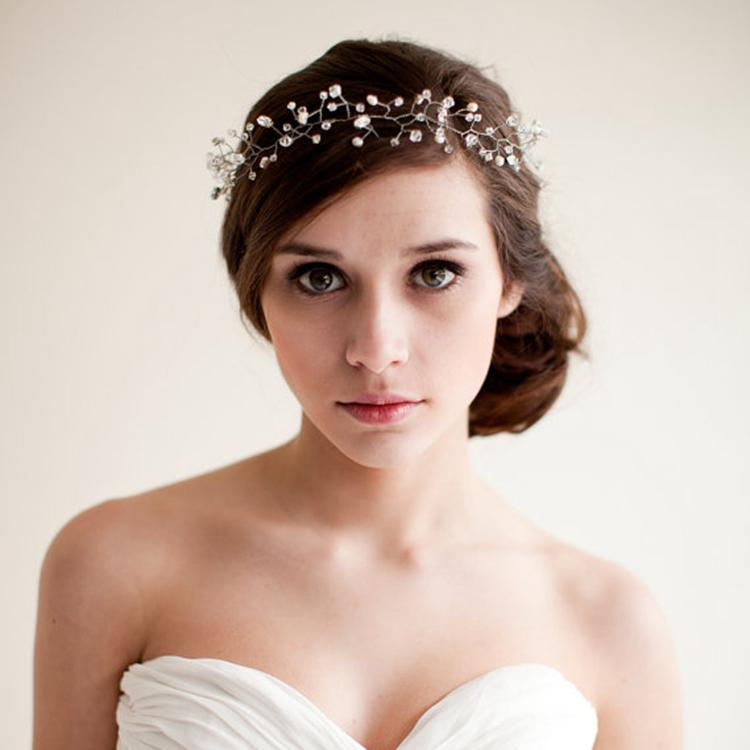 2014 Real Pearl Hair Jewelry Hair Accessories Wedding Hair Jewelry Gold Headband Frozen Hair Vine Wedding Headpiece Bride Hair Accessories