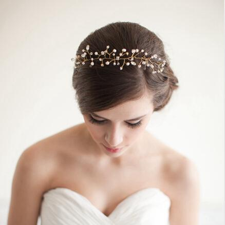 2017 2014 Fresh Water Pearl Wedding Hair Jewelry Headbands Gold