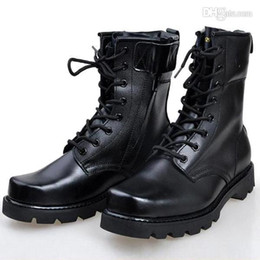 Wholesale High Top Leather Military Boots - Men Winter Military Combat Boots Outdoor equipment Platform High top Non slip Lace up Shoes Black X198 kevinstyle