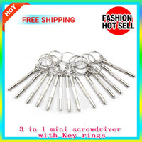Wholesale Mini Camera Keyring - Stainless 3 in 1 Screwdriver Mini Screw Driver Keychain Keyring Use On Ecig RDA Kayfun RBA Atomizer,Glasses,Cell Phone,Watch,Digital Camera