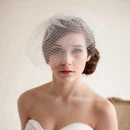 Wholesale Red Bridal Veil Rhinestones - 2014 SSJ Wedding Veils Double Layer Full Birdcage Veil Short Meshed Net Wedding Blusher Veil Bridal Fascinator Veils Wedding Birdcage Veil