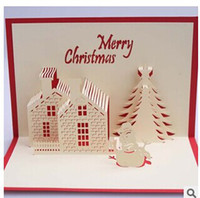 Wholesale Creative D stereo Christmas card Christmas Cottage blessing card Merry Christmas