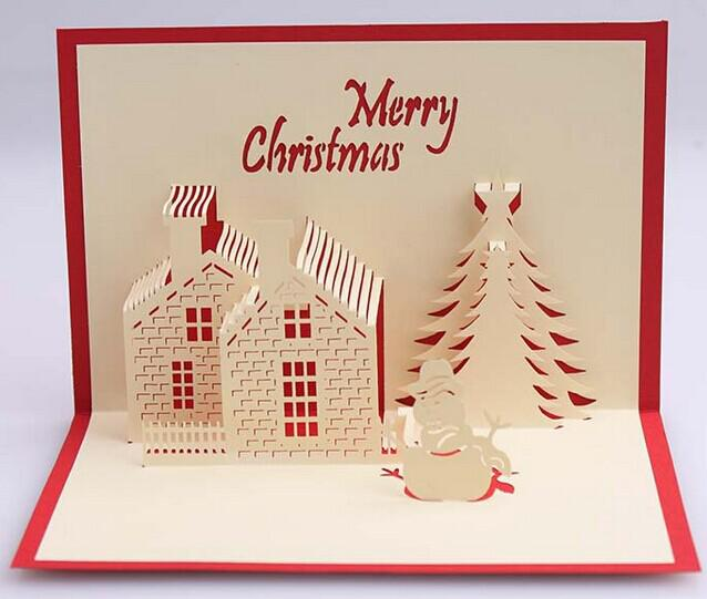 Merry Christmas Card.Creative 3d Stereo Christmas Card Christmas Cottage Blessing Card Merry Christmas Thanksgiving Cards Unique Birthday Cards From Wholesale Cngoods