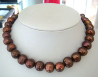 Wholesale 13mm Pearl Necklace - baroque 12-13mm south sea red chocolate pearl necklace 18''