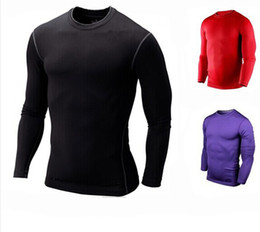 Wholesale Sports Full T Shirts - Tight New Men Pro Elastic Tights Sports Long full Sleeve T-shirt Autumn Winter Workout Clothes Basketball Training Tops