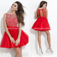 Wholesale Cute Pink Crystals - Cute Short Prom Dress Red Scoop Neck Tulle Beading Junior Girls Graduation Dresses Homecoming Dresses Party Dresses