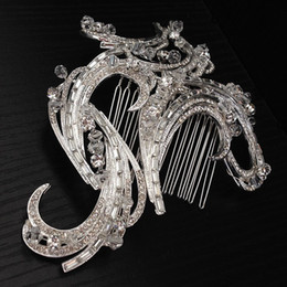 Wholesale Clip Fascinators - Exquisite Royal Designer Vintage Combs Tiara Clear Rhinestone Crystal Silver Pageant Wedding Bridal Tiara Hair Combs Clip Jewelry