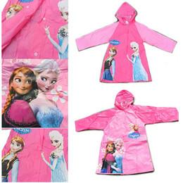 Wholesale Princess Raincoat - Frozen Raincoat princess Elsa & Anna Frozen Rain Gear Cartoon Girls Raincoat for 6-12ages Student Rainwear Frozen
