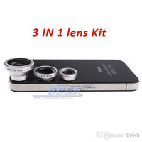 Wholesale Magnetic Lens For Camera - 1 set Magnetic 3 in 1 Wide Angle Macro lens 180 Fish Eye camera Kit Set for iPhone 4 5 5C 5S 6 for HTC ipad Samsung android Mobile phone
