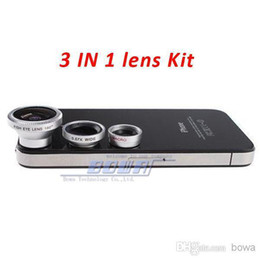 mobile camera lens kit Coupons - 1 set Magnetic 3 in 1 Wide Angle Macro lens 180 Fish Eye camera Kit Set for iPhone 4 5 5C 5S 6 for HTC ipad Samsung android Mobile phone