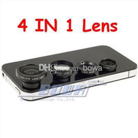 Wholesale Iphone Telephoto Kit - 4pc lot Magnetic 4 in 1 Universal Wide Angle lens  Macro lens 180 Fish Eye 2X telephoto Lens Kit Set for iPhone 6 5 5S 5C 4 4S iPad Note 3 4