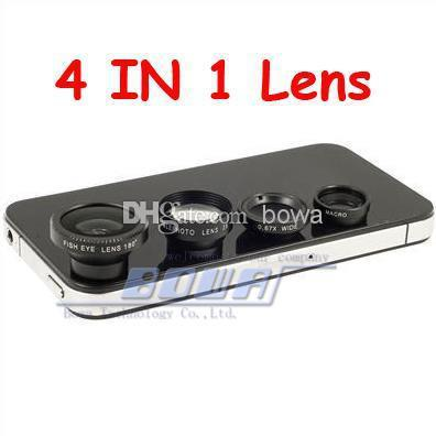 4pc/lot Magnetic 4 in 1 Universal Wide Angle lens /Macro lens/180 Fish Eye/2X telephoto Lens Kit Set for iPhone 6 5 5S 5C 4 4S iPad Note 3/4