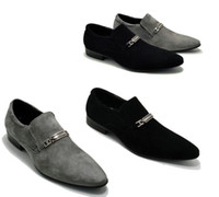 Wholesale Grey Chunky Heels - Grind arenaceous cowhide male pointed slip-on shoes men's leather shoes men's shoes business dress shoes