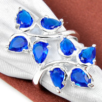 Wholesale Silver Ring Blue Gem - 5pcs lot Christmas Holiday Jewelry Gift FREE SHIPPING Blue Topaz Gems 925 Sterling Silver Ring R0610