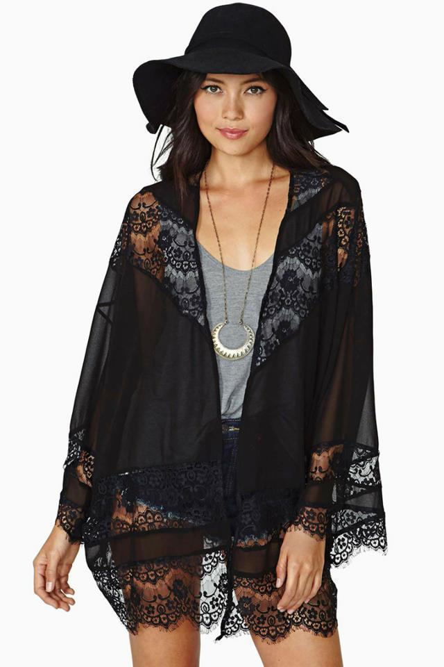 2018 Women'S Black Sexy Hallow Out Lace Cardigan Autumn Panelled ...