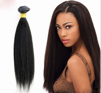 Wholesale 5a virgin hair pcs online - Grade A brazilian yaki straight hair quot quot g cheap yaki human hair weave coarse yaki virgin hair dhl free