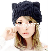 2014 Fashion Korean Women Lady Devil Horns -Katze-Ohr häkeln Geflochtene Knit Beanie Ski Hut Mütze Wolle Winter warme Beret