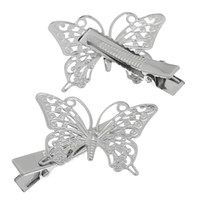 Wholesale Hair Clips Barrettes Hollow Butterfly Silver Tone x4cm