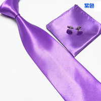 Wholesale Hot Pink Cravat - HOt men's ties sets 23 colors neck tie set necktie hanky cufflinks Handkerchiefs Pocket square tower cravat-WH883H