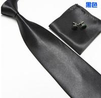 Wholesale Men S Neck Ties Silk - New solid ties Classic JACQUARD WOVEN Silk Men 's Tie Cufflink Hanky Set Necktie 23 colors-WH884H