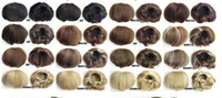 Wholesale Mixed Curly Hair Colours - elastic net hairpieces Bride Hair Bun synthetic Hair Chignon Roller Ponytail Hepburn 16 colours available