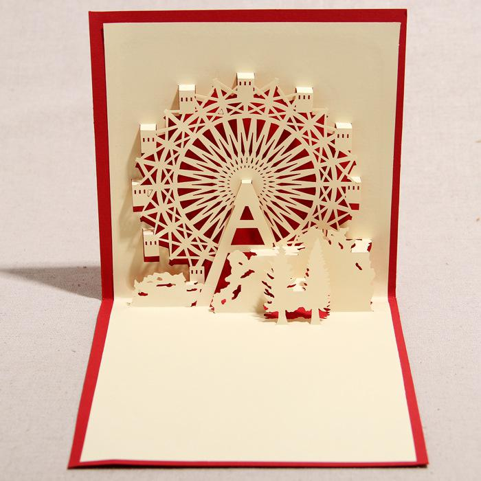 3d greeting card handmade 3d pop up ferris wheel greeting card with envelope christmas birthday favors graduation greeting cards greet card from senses - 3d Greeting Cards