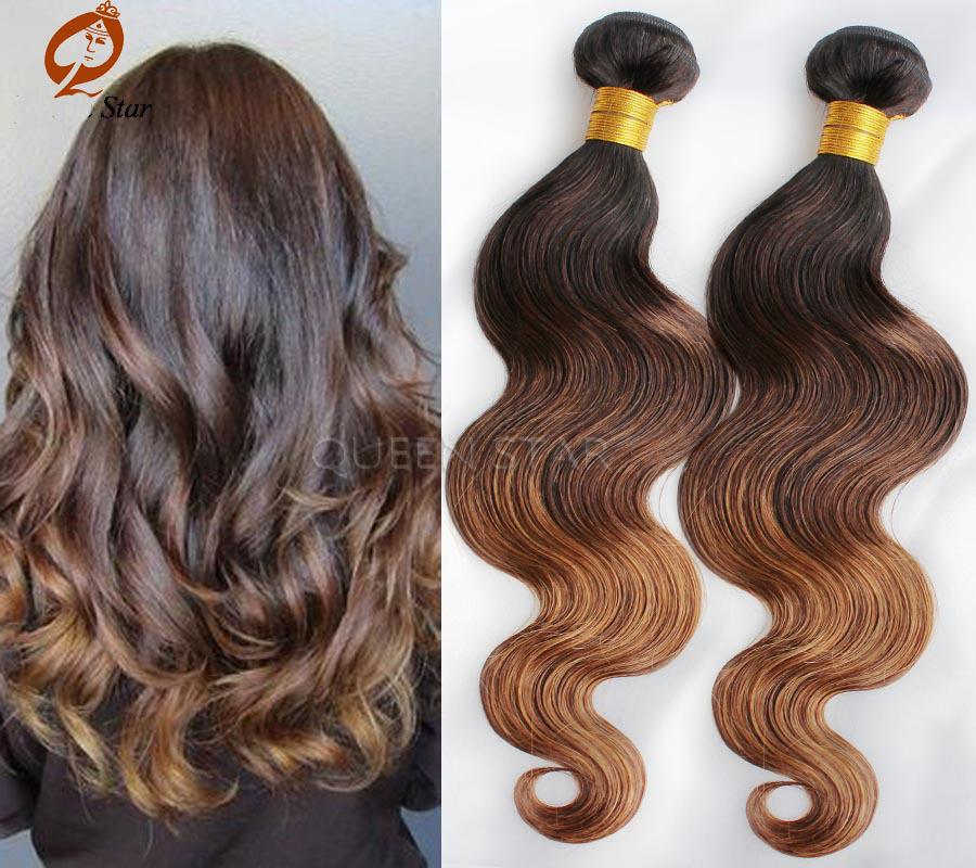 Brazilian Virgin Hair 15 Tone Ombre Hair Extensions Black And Brown ...