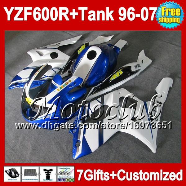 7gresores Para YAMAHA 96 97 98 99 00 01 YZF600R Thundercat Azul blanco MC269 96-07 YZF 600R 600 YZF600 R 02 03 04 05 06 07 NUEVO Carenado azul blanco