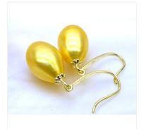Wholesale golden akoya pearls - Natural golden yellow 9*10mm AAA+++ drop akoya pearl dangle earring 14K