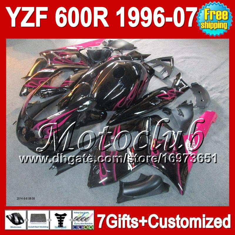 Rosa Flammen 7gifts + Behälter für YAMAHA 1996 1997 1998 YZF600R Thundercat MC71 96-07 YZF 600R 600 YZF600 R 1999 2000 2001 Verkleidung Rosa schwarz