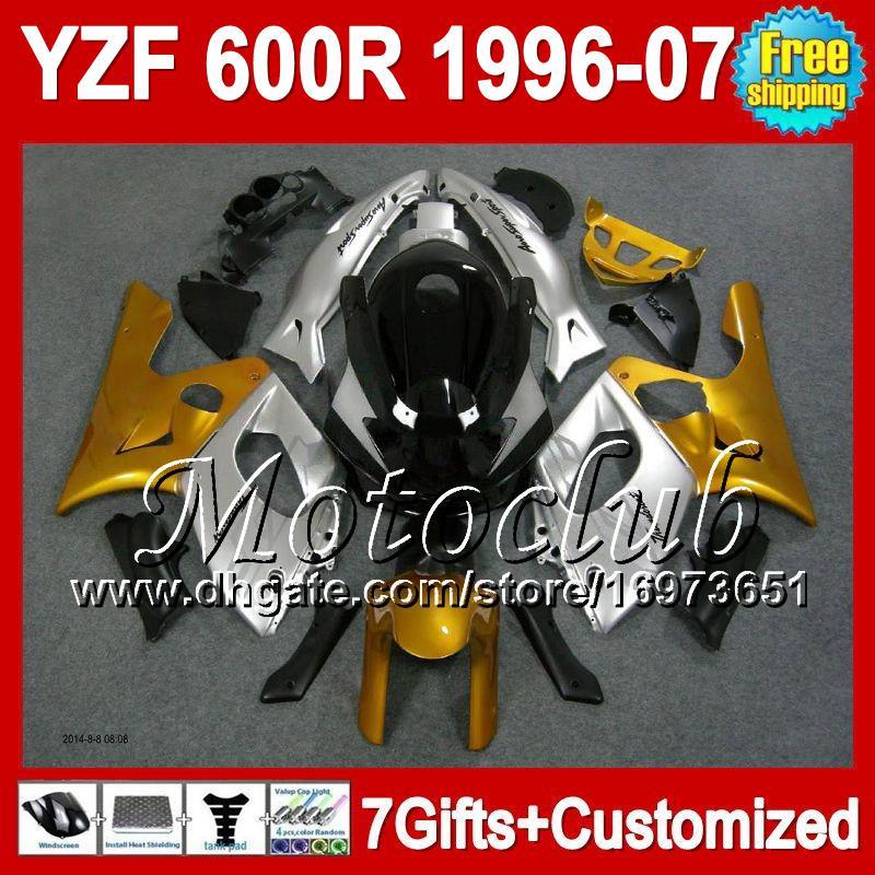 7gifts+бак золото серебро для Yamaha YZF600R 1996 1997 1998 Громокошку 96-07 MC42 золотой серебряный и YZF 600 YZF600 600р Р 1999 2000 2001 обтекатель