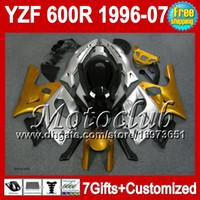 yamaha thundercat 1996 verkleidungen großhandel-7gifts + Tank Gold silber Für YAMAHA YZF600R 1996 1997 1998 Thundercat 96-07 MC42 Golden silber YZF 600R 600 YZF600 R 1999 2000 2001 Verkleidung