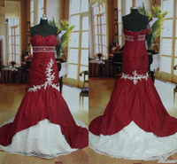 Wholesale Empire Red Sweetheart Mermaid - Real Image 2014 Mermaid Red Wedding Dresses Sweetheart Beads Lace Taffeta Tie up Back Empire Waist Bridal Gowns Custom Made W310