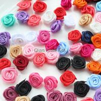 Wholesale Rolled Fabric Rosette Flowers - 500pcs mix color mini Satin Rolled Rosette Fabric Flowers size 18-25mm