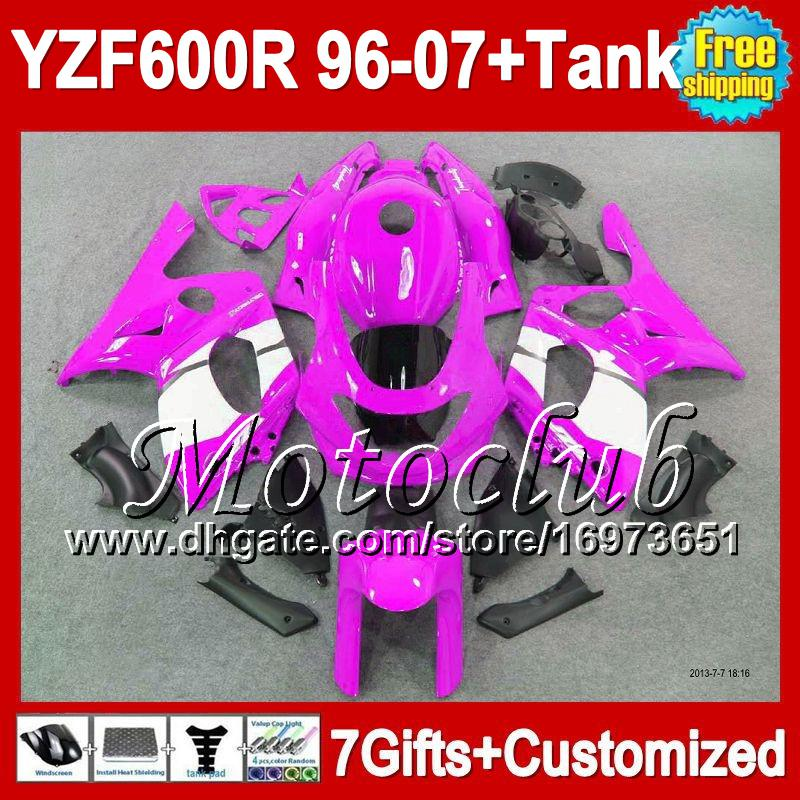 7 regatas + Tanque para YAMAHA YZF 600R 600 Thundercat 96-07 Rosa blanco 2005 2006 2007 2MC180 YZF600R YZF600 R Rosa blanco 2002 2003 2004 Carenado