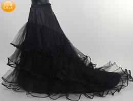 Wholesale Net Wedding Petticoats - Fashion Long Full Length A-line Black Tulle Net Wedding Prom Petticoat with Ruched Edge Layered A-line Court Train Skirt Crinoline