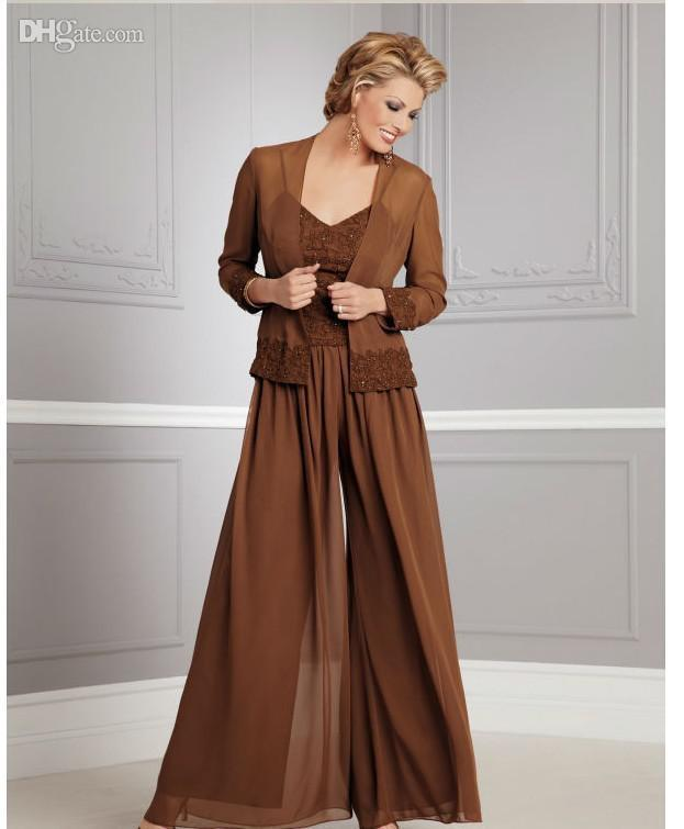 Outdoor Wedding Mother Of The Bride Dresses: Two Piece Floor Length Mother Of The Bride Pant Suits